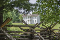 Colonial Home landmark in Missouri Town. Missouri Town 1855 is a 30-acre outdoor history museum located in Fleming Park east of Lake Jacomo in Jackson County royalty free stock photos