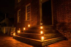 Colonial Home with lanterns Royalty Free Stock Image