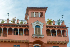 Colonial house balcony with flowers and plants Stock Images