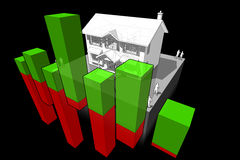 Colonial house and business diagram Royalty Free Stock Photos
