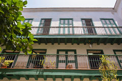 Colonial house facade. Typical colonial house, in Old Havana royalty free stock photography
