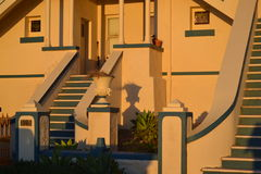 Colonial house front porch in the sunset light Stock Photography