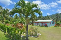 Colonial house in Rarotonga Cook Islands. Colonial house in Rarotonga.Traditional Polynesian houses, Kika, are prohibited in Rarotonga as it`s considered Stock Photo