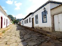 Colonial houses. Colored colonial houses and church in the city of Tiradentes - Minas Gerais, Brazil Royalty Free Stock Photography