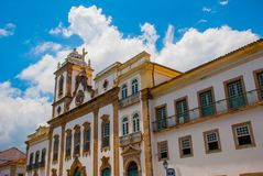 Colonial houses at the historic district of Pelourinho. The historic center of Salvador, Bahia, Brazil. Historic neighborhood famous attraction for tourist stock photo