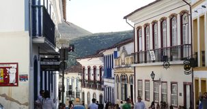 Colonial houses in Ouro Preto, Minas Gerais, Brazil stock video footage