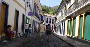 Colonial houses in Ouro Preto, Minas Gerais, Brazil stock video