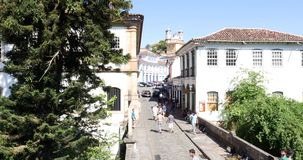 Colonial houses in Ouro Preto, Minas Gerais, Brazil stock footage