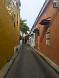 Colonial houses on street in Cartagena de Indias, Colombia Royalty Free Stock Photo
