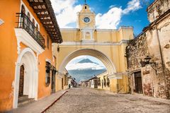 Colonial houses in tha street view of Antigua, Guatemala. royalty free stock photography