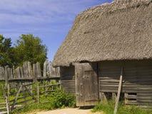 Colonial Hut. Reproduction of a 17th century English colonial hut at Plimoth Plantation, Massachusetts, USA Royalty Free Stock Image