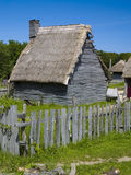 Colonial Hut. An English colonial hut at Plimoth Plantation in Plymouth, MA Stock Images