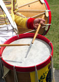 Colonial Military Band Drummer. A drummer in a colonial military band Stock Image