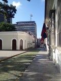 Colonial neighborhood. Stone floor. Stone sidewalk in Caracas, Venezuela. Colonial architecture. Stone floor stock images