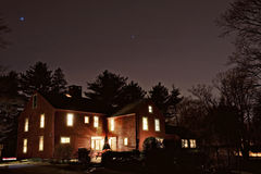 Colonial at night. A colonial house in Hingham Massachusetts photographed at night royalty free stock photo