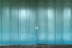 Colonial old building style,The vintage wooden door at Thailand Stock Photo