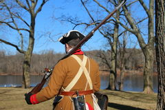The colonial sentry. On a cold winter day this colonial guard at Washington `s camp along the Delaware River Stock Image
