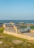 Colonial Spanish Fort and Caribbean Sea in Cartagena Stock Photo