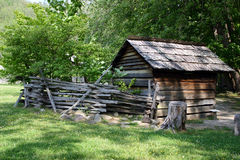 Colonial Spring House. This colonial spring house can be found in Great Smoky Mountains National Park, North Carolina.  A spring house was the colonial ' Stock Photo
