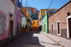 Guanajuato Mexico November 2017, colourful colonial street in the town`s center. Colonial street in the center of Guanajuato in Mexico. Empty street, colourful Royalty Free Stock Images