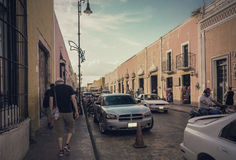 The colonial street in the evening, vintage style. The medieval street of Mexican town in the sunlight Stock Image