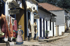 Colonial street and shops in Tiradentes, Minas Gerais, Brazil. An unspoiled colonial street in the town of Tiradentes, state of Minas Gerais, Brazil. Founded in Stock Image