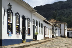 Colonial street in Tiradentes, Minas Gerais, Brazil. Royalty Free Stock Photography