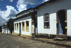 Colonial street in Tiradentes, Minas Gerais, Brazil. Royalty Free Stock Images