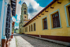 Colonial street in vibrant city of Trinidad, Cuba Royalty Free Stock Images