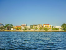 Colonial Style Architecture of Cartagena from Caribbean Sea Stock Photography