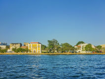 Colonial Style Architecture of Cartagena from Caribbean Sea Royalty Free Stock Photo