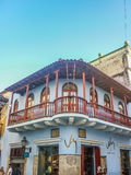 Colonial Style Architecture in Cartagena. CARTAGENA, COLOMBIA, DECEMBER - 2014 -  Low angle view of decorated spanish colonial style architecture in the city of Stock Photo