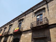 Colonial style architecture in the city of Morelia, Mexico. Street, outdoor, travel, tourism, michoacan, mexican, culture, old, traditional, construction royalty free stock photography