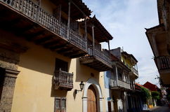 Colonial style balconies in Cartagena Royalty Free Stock Photography