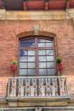 Colonial style balcony. In the historic Candelaria district of Bogota, Colombia Royalty Free Stock Photo