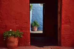 Colonial style and colorful Walls. Typical colonial architecure and colorful spanish style in Arequipa, Peru Stock Images