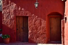Colonial style and colorful Walls. Typical colonial architecure and colorful spanish style in Arequipa, Peru Stock Photos