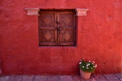 Colonial style and colorful Walls. Typical colonial architecure and colorful spanish style in Arequipa, Peru Royalty Free Stock Photography