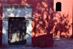Colonial style and colorful Walls. Typical colonial architecure and colorful spanish style in Arequipa, Peru Royalty Free Stock Image