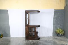 Solid Wood Bar Unit in Provincial Teak stock photo