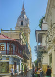 Colonial Style Street at Historic Center in Cartagena de Indias Royalty Free Stock Photos