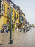 Colonial Style Street of Lima Stock Images