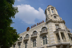 Colonial styled building of AYA bank in Yangon, Myanmar Royalty Free Stock Image