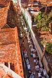 Colonial town cityscape of Trinidad, Cuba. Street shopping. Royalty Free Stock Images
