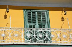 Colonial Trinidad, detail of a window with balcony, Cuba Stock Photo
