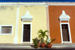 Colonial Valladolid, Mexico. View of two different color historic buildings in Valladolid, Mexico Stock Photography