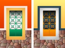 Colonial window vector illustration set, colorful rustic stone frame. Eps available royalty free illustration
