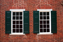 Colonial Windows. Windows on a building built in the late 1700s Royalty Free Stock Photo