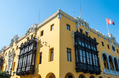 Colonial yellow building, Lima, Peru Royalty Free Stock Images