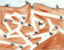 Colonie de fourmi de Thumbprint Images libres de droits